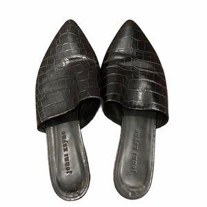 Jenni Kayne Black Leather Croc Embossed Mules 6
